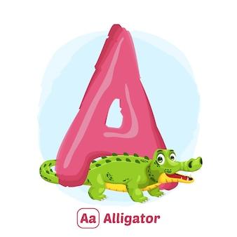 A für alligator. illustrationszeichnungsstil des alphabet-tieres für bildung
