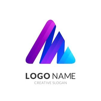 A und m monogramm logo, bunt