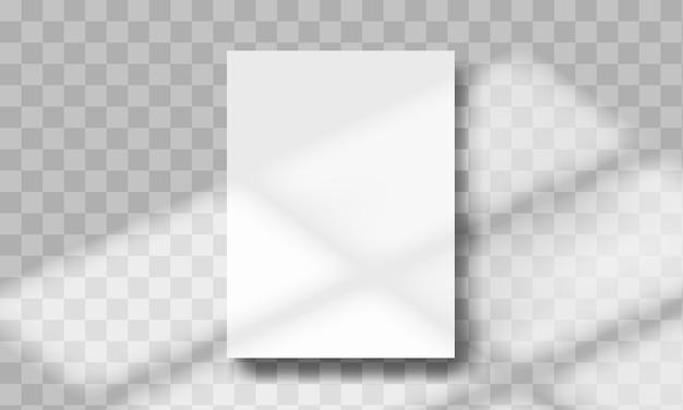 A4 papierblattformat. schattenüberlagerungsfenstereffekt. vorlage mit sonnenlicht.
