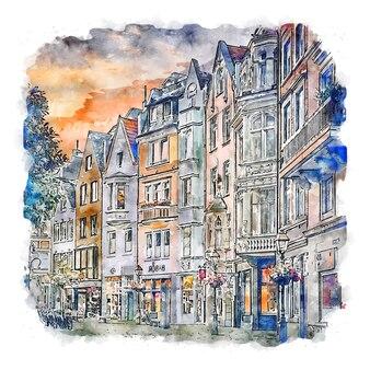 Aachen deutschland aquarellskizze handgezeichnete illustration
