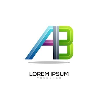 Ab-buchstaben-logo bunte farbverlaufsillustration