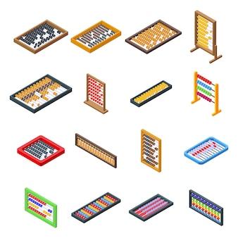 Abakus-symbole eingestellt. isometrischer satz von abakusvektorikonen für webdesign lokalisiert auf leerraum