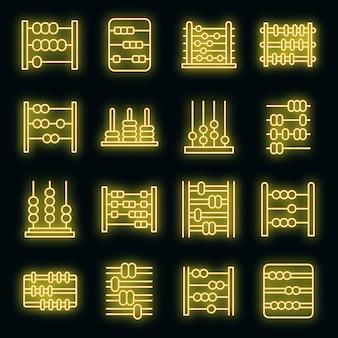 Abakus-symbole gesetzt. umrisse von abakus-vektorsymbolen neonfarbe auf schwarz