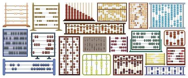 Abakus-vektor-cartoon-icon-set. sammlungsvektorillustrationswerkzeug zum zählen auf weißem hintergrund. isolierte karikaturillustrationsikonensatz des abakus für webdesign