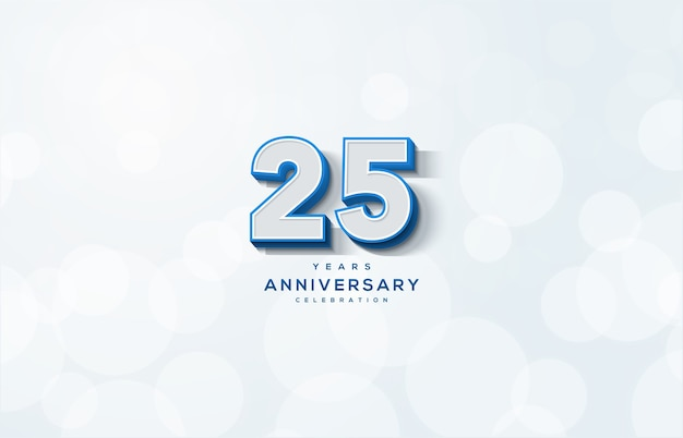 Abbildung 25 zum feiern. mit geprägten 3d-zahlen auf weißem hintergrund.