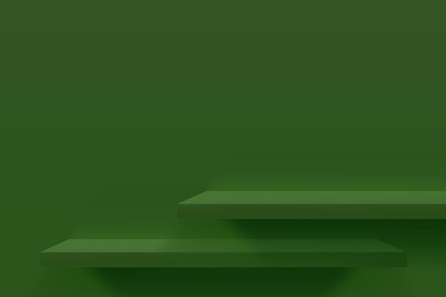 Abbildung 3d von grünen leeren regalen auf grüner wand. minimales hintergrunddesign für die produktpräsentation.