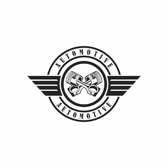 Abbildung abstraktes abzeichen-kolben-motorrad mit flügel-zeichen-design