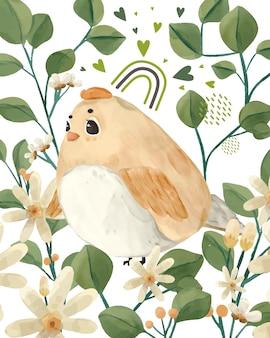 Abbildung aquarell vogel, blume, blatt und natürliches wild handgezeichnetes set