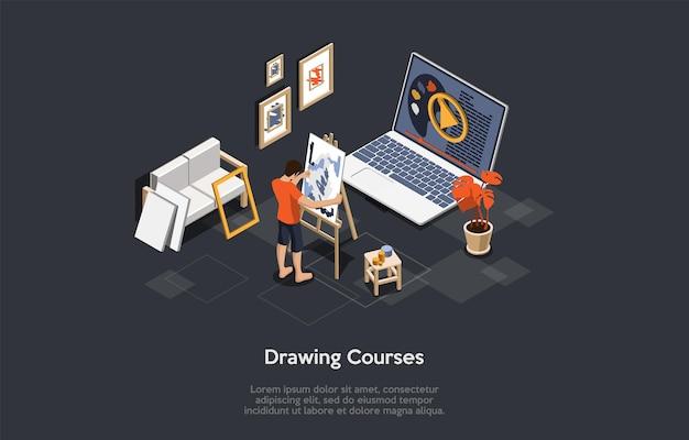 Abbildung auf dunklem hintergrund. vektorzusammensetzung, cartoon-3d-stil, isometrische objekte und charaktere. design auf kunst- und zeichenkurs, online-bildung, remote-videoklassen-malprogrammkonzept