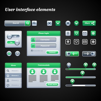 Abbildung der elemente der benutzeroberfläche