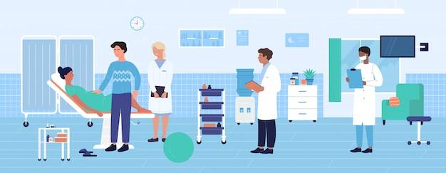 Abbildung der geburtshilflichen untersuchung im krankenhaus. karikatur geburtshelfer gynäkologe ärzteteam untersucht schwangere frau patientin vor der geburt. hintergrund im gesundheitswesen für mutterschaftsmedizin
