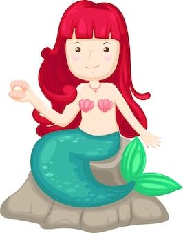 Abbildung der getrennten hand gezeichneten kleinen meerjungfrau