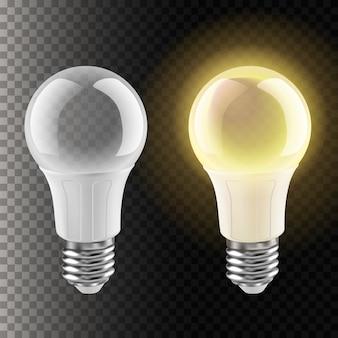 Abbildung der glühbirne ohne und mit licht. isoliert auf transparent