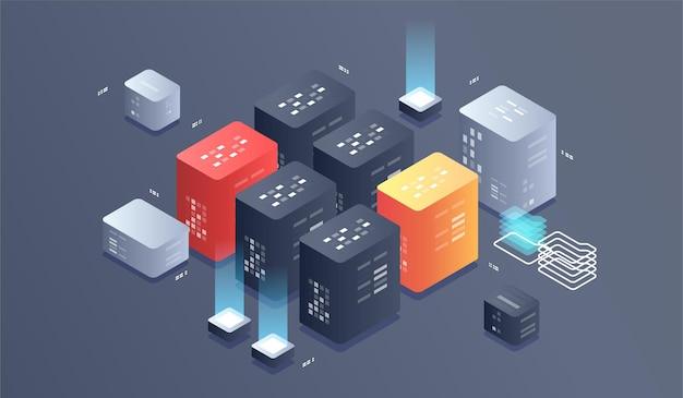 Abbildung der isometrischen digitaltechnik. big data algorithmen für maschinelles lernen.