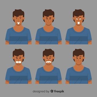 Abbildung der jungen leute mit verschiedenen gefühlen