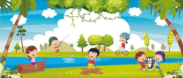 Abbildung der kinder, die draußen spielen