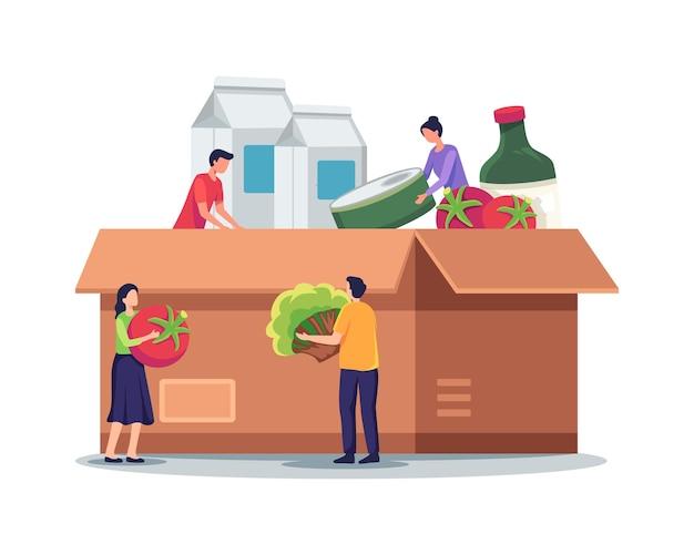 Abbildung der lebensmittelspendenbox. winzige charaktere, die eine spendenbox aus karton füllen. freiwillige sammeln lebensmittel und lebensmittel für obdachlose und arme menschen. vektorillustration in einem flachen stil