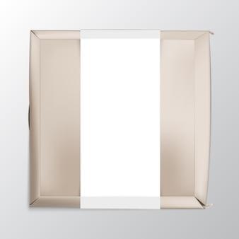 Abbildung der lebensmittelverpackung aus braunem papier oder karton mit weißer papierumhüllung