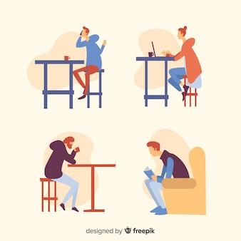 Abbildung der leute, die in einem kaffee sitzen