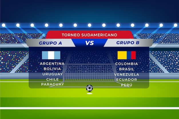 Abbildung der südamerikanischen fußballgruppen mit farbverlauf