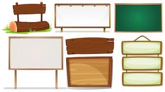 Abbildung der verschiedenen Entwürfe der hölzernen Zeichen