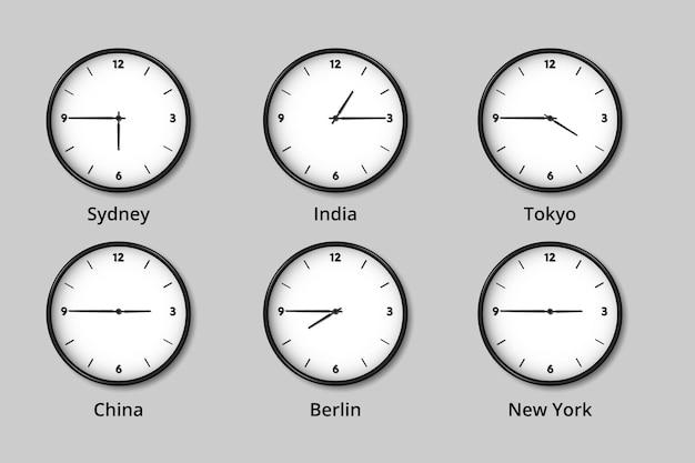 Abbildung der weltweiten zeitzonenuhren