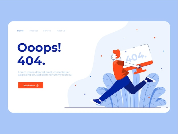 Abbildung des 404 e-commerce-fehlerzustands mit zielseitenkonzept
