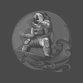 Abbildung des astronauten, des kosmonauten, die skateboard und des sports auf dem raum mit astronautenanzug zahlen