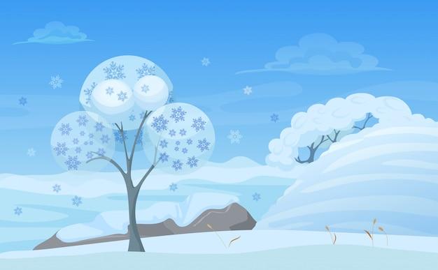 Abbildung des baumes im winterwald mit schneeflocken