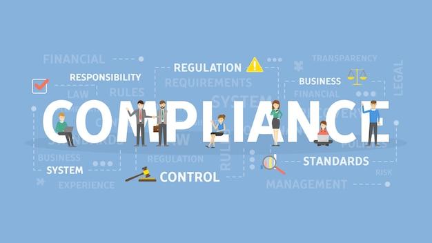 Abbildung des compliance-konzepts. idee von verantwortung, standard und kontrolle.