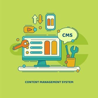 Abbildung des content-management-systems Premium Vektoren