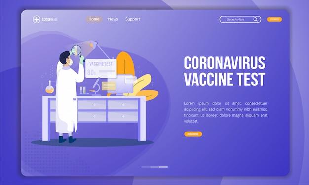 Abbildung des coronavirus-impfstofftests auf der zielseite