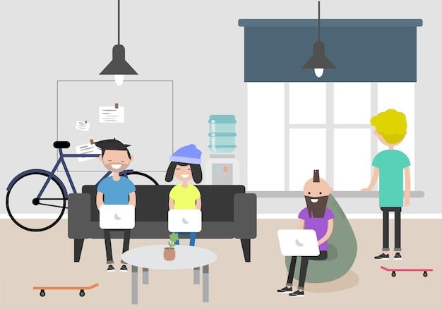 Abbildung des coworking space. arbeitsplatz, büro. modernes büro. millennials bei der arbeit.