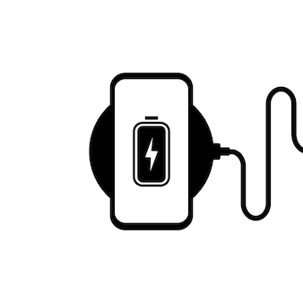 Abbildung des drahtlosen ladegeräts. smartphone beim kabellosen laden. batterieladesymbol.