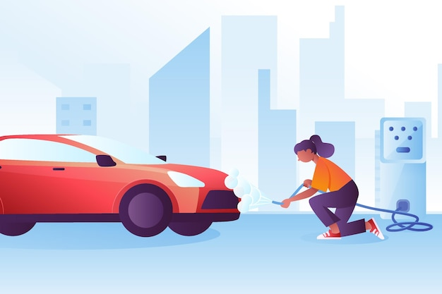 Abbildung des flachen autowaschservice-konzepts