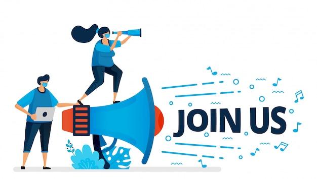 Abbildung des join-us-programms zur mitarbeiterrekrutierung bei neuer normalität und pandemie. ankündigungen zur einstellung von arbeitnehmern. design kann für zielseite, website, mobile app, poster, flyer, banner verwendet werden