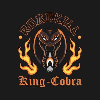 Abbildung des kobra-schlangenkopfes mit feuer im old-school-stil