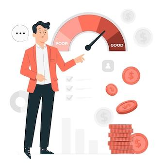 Abbildung des konzepts der kreditwürdigkeitsprüfung