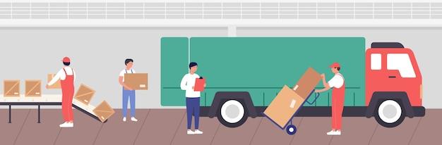 Abbildung des lagerladevorgangs. karikaturarbeiterleute, die waren in kisten für den transport durch lkw im lagerrauminnenraum des lagerhaushintergrunds verpacken