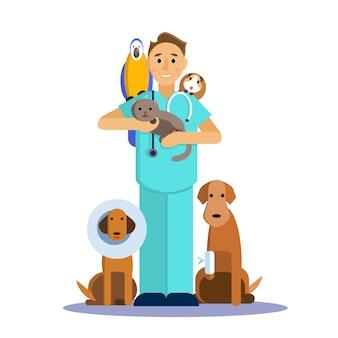 Abbildung des männlichen tierarztes mit nettem haustier, hund, katze, meerschweinchen und papagei.