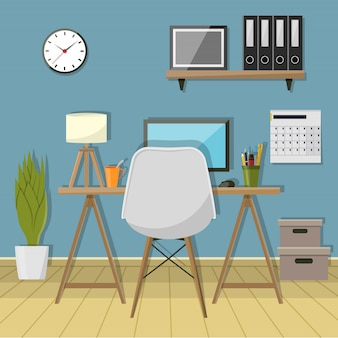 Abbildung des modernen arbeitsplatzes im raum. kreativer büroarbeitsplatz