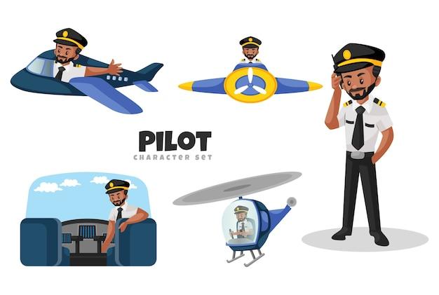 Abbildung des pilotzeichensatzes Premium Vektoren
