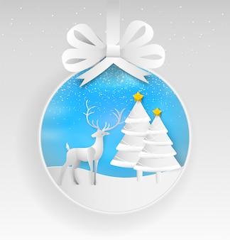 Abbildung des rens und des weihnachtsbaums im winter mit landschaftshintergrund. papierkunst