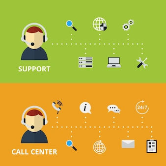 Abbildung des support- und call center-konzepts. technische hilfe und informationen. vektorillustration