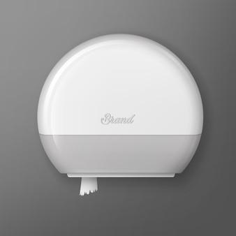 Abbildung des weißen kunststoff-toilettenpapier-rollenspenders