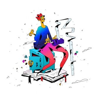 Abbildung eines buchhalters bei der arbeit. vektor. cartoon flachen stil.