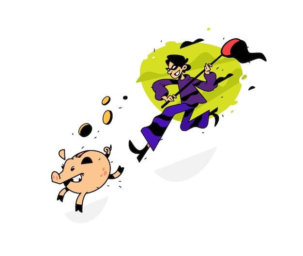 Abbildung eines diebes, der ein sparschwein mit einem netz nachläuft
