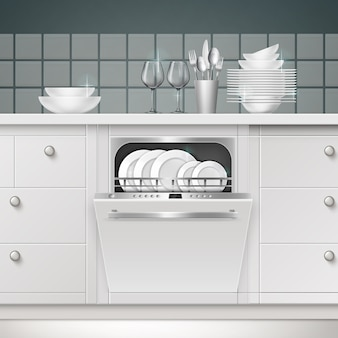 Abbildung eines eingebauten geschirrspülers mit geöffneter tür und sauberen utensilien in einer küche
