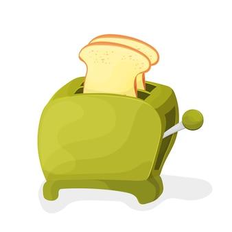 Abbildung eines grünen cartoon-toasters auf weißem hintergrund