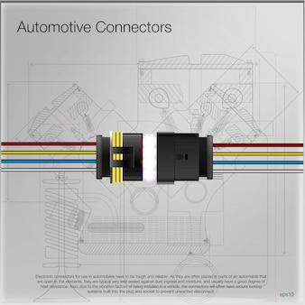 Abbildung eines kfz-steckverbinders. kann als werbung verwendet werden. technischer hintergrund . alle elemente des bildes sind gruppiert.
